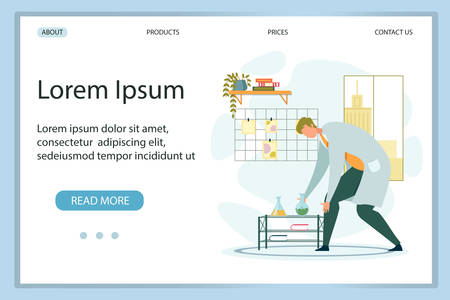 Flat Design Landing Page Presenting New Chemical Lab. Man Scientist, Chemist, Researcher Working with Chemicals, Liquid Reagents in Glass Flasks. Biochemistry and Chemistry Work. Vector Illustration  イラスト・ベクター素材