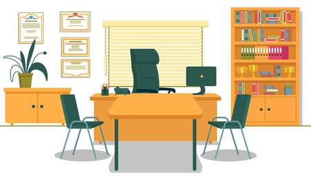 Office with Necessary Furnishing and Computer on Desk. School Principals Working Place. Table and Two Chairs for Visitors, Teachers, Parents and Students. Shelving with Folders and Gold Champion Cups. Illustration