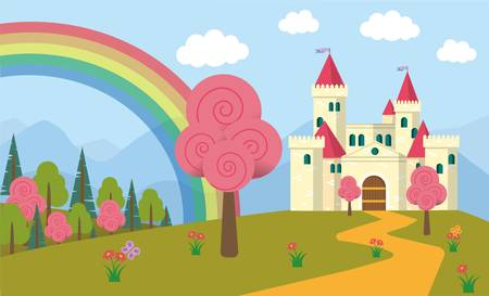 Cute Fairytale Landscape with Castle and Rainbow
