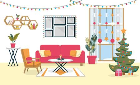 Festive Christmas Decoration Living Room Interior. Room Decorated Colorful Lights, Garlands and Christmas Tree. Sofa, Armchair and Table with Candlestick in Center. Frames, Shelves Hang on Wall Imagens - 139788678