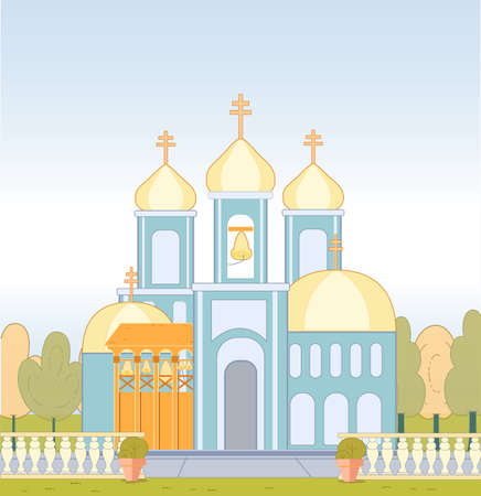 Christian Orthodox Church Building with Bell, Crosses on Domes. Holy God traditional Symbol. City Landmark. Religion Architecture Design. Natural Landscape with Temple. Vector illustration Иллюстрация