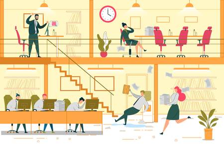Unproductive Workplace Flat Vector Illustration