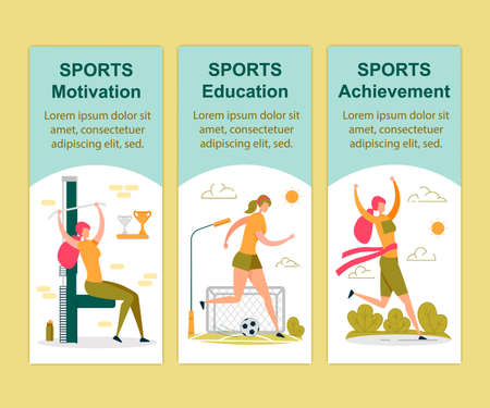 Sports Motivation, Education and Achievement Vertical Banners Set. Sportswoman Exercising in Gym Lifting Weight Training for Competition, Playing Football Running Race Cartoon Flat Vector Illustration Ilustrace