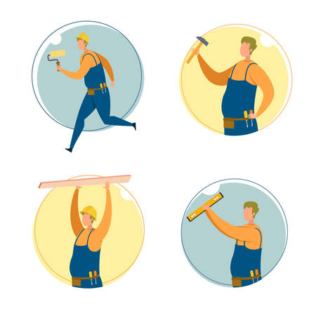 Builder, Carpenter or Engineer Cartoon Character Set. Man in Helmet Runs and Holds Roller, Raised Up Hammer, Carries Wooden Plank, Stands with Graduation Ruler. Modern Flat Vector Illustration