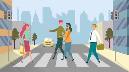 People Crossing Pedestrian Area in City Flat Cartoon Vector Illustration. Man Volunteer Helping Blind Woman, Healthcare Assistance. Guy Supporting Disabled Person with Stick on Road.