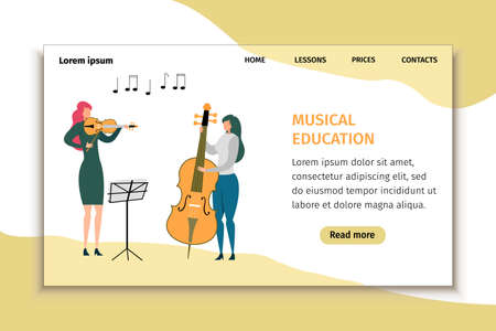 Musical Education Landing Page Design for School Promotion. Young Women Artist Musician Practice Playing Violin, Double Bass. Stringed Instruments Class. Music Concert Performance. Vector Illustration