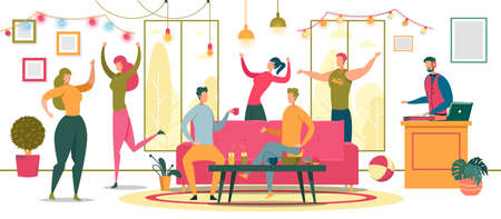 Friends Dancing at Party Flat Vector Illustration. Cheerful Students, Roommates Celebrating Happy Event, Holiday Cartoon Characters. Party Goers Chatting In Lounge Zone. DJ Choosing Music Tracks