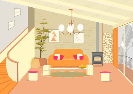 Loft Style Living Room. Eclectic Design. Energetic and Creative Solutions. Two Storey Apartment. Brick Wall, Fireplace, White Decorative Elements and Bright Spot Orange Couch. Green Potted Tree.