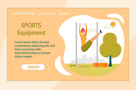 Sports Equipment Horizontal Banner. Young Sportive Woman Exercising on Horizontal Bar Lifting Legs Up. Sportswoman Engage Cardio Exercising, Fitness Outdoor Activity. Cartoon Flat Vector Illustration.
