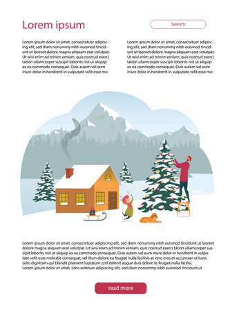 Christmas Holidays, Winter Family Vacation Website. Man in Santa Hat Decorates Christmas Tree. Child Having Fun, Playing with Dog, Sledding. House in Nature, Coniferous Forest and Mountains