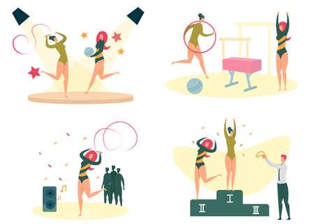 Women Sport, Fitness and Workout Activity Set. 일러스트