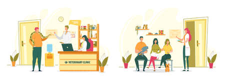 People Bringing their Domestic and Exotic Pets Animals to Veterinary Clinic for Examination or Professional Diagnosis. Vet Hospital Reception with Visitors and Veterinarians. Flat Vector Illustration. Ilustrace