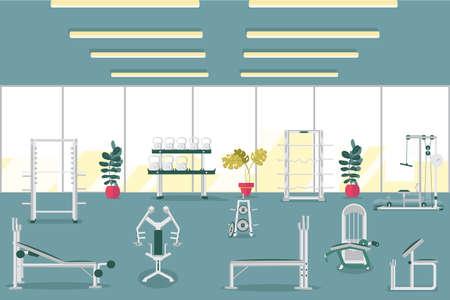 Sport Gym Interior Workout Equipment Copy Space