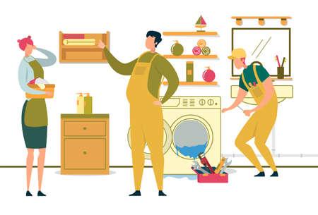 Joyful Men Characters Fixing Broken Home Technics Ilustrace