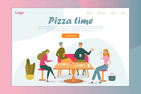 Takeaway Pizza Eating Flat Vector Illustration