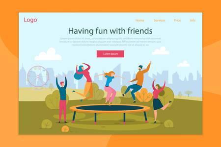 Trampoline Jumping Flat Landing Page Template. Happy People Having Fun. Best Friends Recreation in Amusement Park Web Banner Vector Layout with Text Space. Group Leisure Activity on Nature