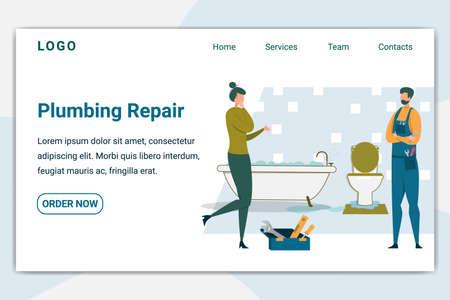 Plumbing Repair Banner. Plumber Visiting Customer