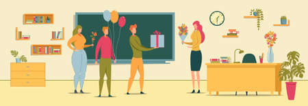 Students Congratulating Woman with Teachers Day.