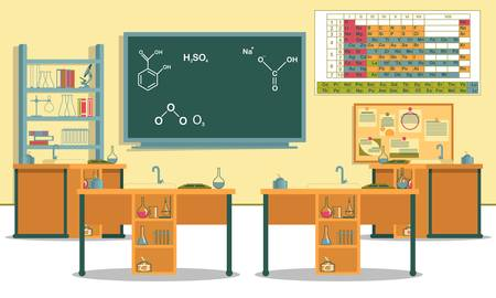 Chemistry Class in Local School with Lab Equipment