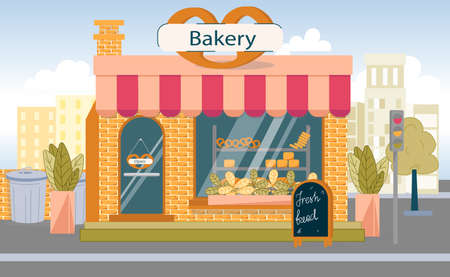 Bakery Shop Building with Fresh Bread Ad Board