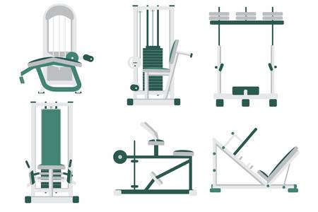 Fitness Sport Gym Exercise Simulators Equipment Workout Set. Bundle of Sport Mechanical and Electrical, Elliptical and Power Machines. Training Apparatus Items. Vector Flat Illustration Ilustrace