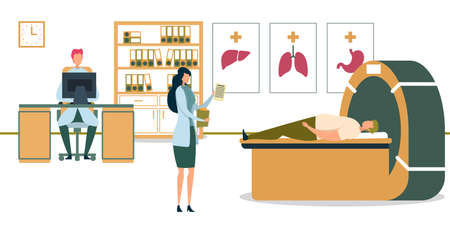 Doctor Looking at Patient Examination Results Flat Cartoon Vector Illustration. Magnetic Resonance Imaging Room. Tomography Check Up. Diagnostic Body Parts Using MRI. Assistant at Table. Ilustrace