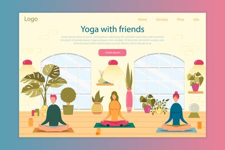 Yoga with Friends Vector Landing Page Template
