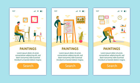 Process of Drawing Mobile App Page Onboard Screen Set for Website. Artist Work with Oil Paints. Painter Hold Paintbrush in Front of Canvas on Easel Create Paintings Cartoon Flat Vector Illustration
