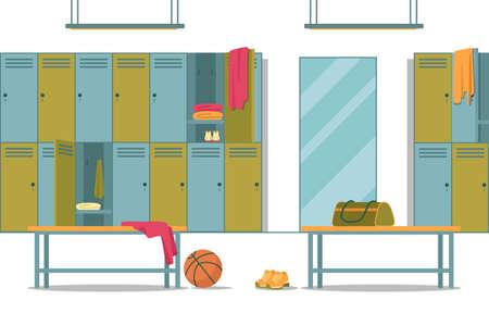 Locker Room at School Gym with All Conveniences Иллюстрация
