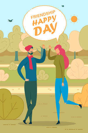 Happy Friendship Day Flat Vector Poster Template