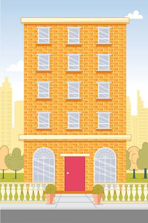 Five-Storied Apartment House Building Exterior Иллюстрация