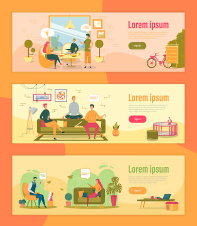 Cozy Pastime Vector Landing Page Templates Set. Informal Communication Concept Homepage Design. Friends, Roommates Lunch Break with Pizza. Romantic Relations, Messaging via Smartphone Promo Website Ilustração