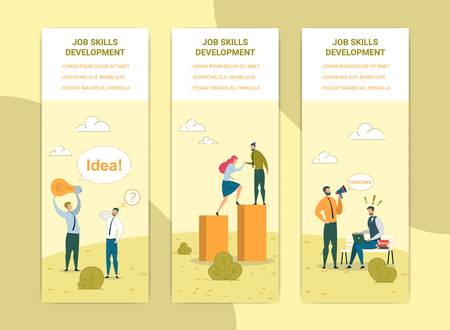 Job Skills Development Web Banners Templates Set. Career Progress, Competence Improvement Posters Concept. Brainstorming, Mentorship and Business Coaching Vector Illustrations with Text Space
