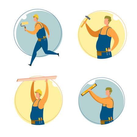 Builder, Carpenter or Engineer Cartoon Character