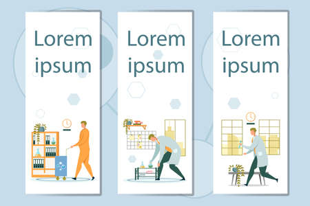 Flat Banner Set Advertising Science Chemical Lab