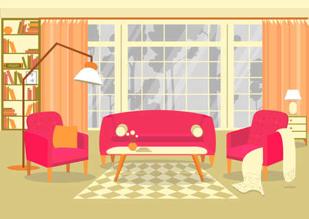 Classic Living Room Interior with Pink Upholstery