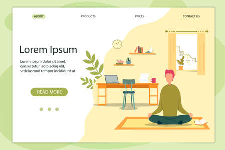 Meditation Banner Man Sitting in Lotus Position