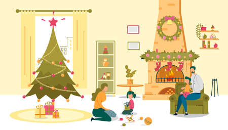 Christmas Happy Time, Parents Play with Children Иллюстрация