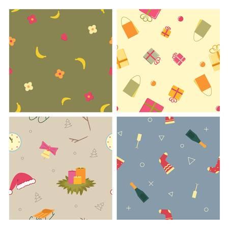 Set Background, Pattern with Christmas Symbols Иллюстрация