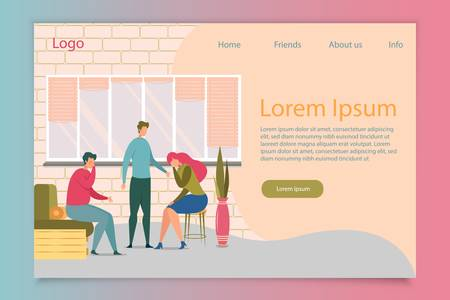 Friends Support Flat Vector Landing Page Template. Man Comforting Sad People Web Banner Layout. Couple Relationship Trouble Illustration. Boyfriend and Girlfriend Crying Cartoon Characters