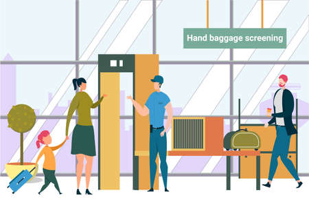 Woman with Little Girl Going Through Security Control Scanner Checkpoint in Airport. Passengers Mother and Daughter Passing Metal Detector for Safety on Airplane Board Cartoon Flat Vector Illustration