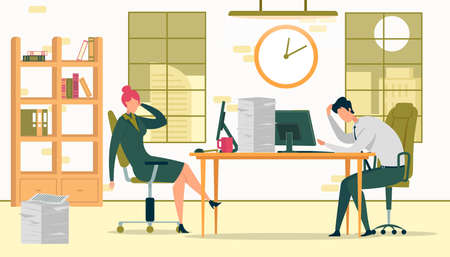 Business People Working Late Vector Illustration