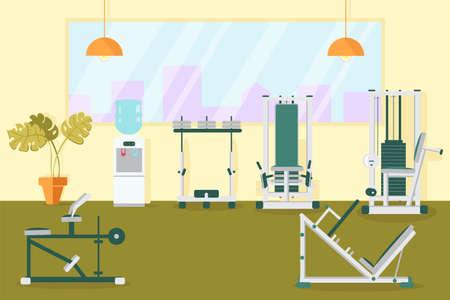 Gym Interior Room with Stationary Training Machine