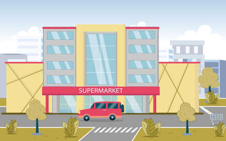 Supermarket Building on Sideway against Cityscape