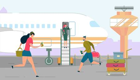Man and Woman with Tickets Hurry Up on Airplane