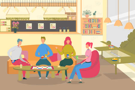 Friends Play Board Game in Cafe Flat Illustration