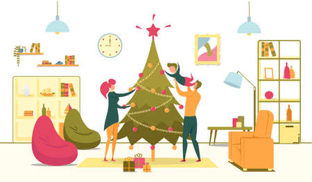 Happy Family with Son Decorate Christmas Tree Иллюстрация