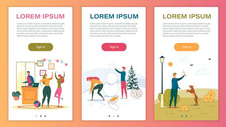 Leisure and Pastime Mobile Web Pages Templates. Winter and Summer Outdoor Recreation Onboarding Screen Vector Layout. Cartoon Characters Building Snowman, Walking with Dog Illustration