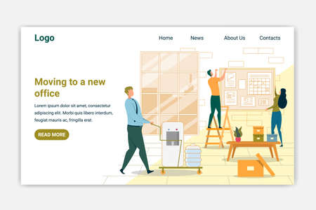 Moving to New Office Landing Page Vector Template