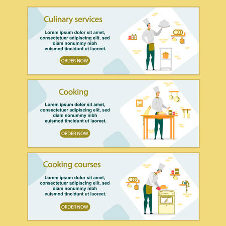 Culinary Services and Cooking Courses Banners Set Иллюстрация